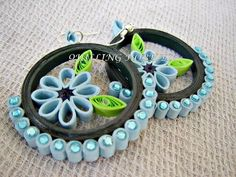 Quilled earrings. I wouldn't put the blue around the outside. Just the middle part.