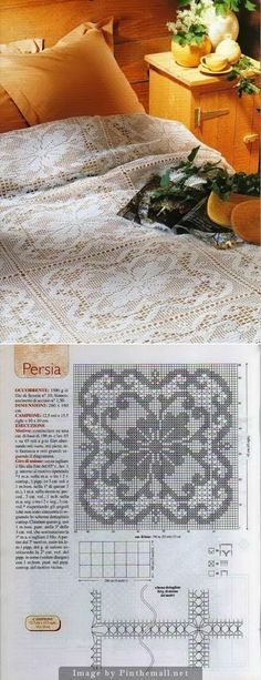 "Filet crochet lace bedspread square ""Persia"" ~~ Notes for joining ~~"