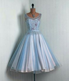 e5520caeb16 Vintage Baby-Blue Beaded Rhinestone-Sequin Net-Tulle Couture Low-Cut  Sweetheart Ballerina-Cupcake Circle-Skirt Rockabilly Party Dress WANT .