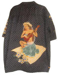 b463dce7 2 XL Ukulele Hula Girl & Anime Flowers Hawaiian Shirt Made in Hawaii, USA