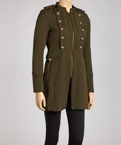 Take a look at this Olive Brassy Military Jacket - Women by Steve Madden on #zulily today! $65 !!