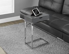 Glossy Grey Hollow-Core / Chrome Metal Accent Table