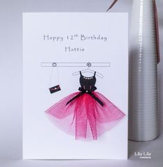 Personalised13th, 16th, 18th Birthday Card, Pink and black party dress, handmade £4.00