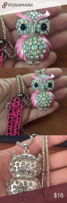 "Betsey Johnson Necklace Adorable Betsey Johnson ""pink owl' Necklace.  Approx. 26"" long.  Silvertone chain.   Whoo. Whoo.. Whoo is going to grab up this necklace ?  Someone who is as smart as an owl  :) Betsey Johnson Jewelry Necklaces"