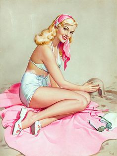 I've always thought this image by artist Pearl Frush was one of the prettiest beach pinup paintings ever.