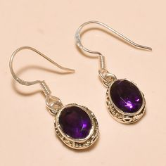 92.5% SOLID STERLING SILVER CHARM FACETED AFRICAN AMETHYST EARRING 3.20 CM #Handmade