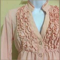 Love Haight Blush Pink Top Size XS Love Haight Women's Blouse Size XS Pink Color Button Front, Pink Buttons With Silver Trim Extra Button Included Ruffle Collar Front Tie String 3/4 Sleeve Machine Washable 100% Polyester Armpit to Armpit Approx. 18 Inches Length From Rear Collar Seam Approx. 26 Inches Shoulder Approx. 14 Inches Sleeve From Shoulder Seam Approx. 14 Inches MSRP $ 42.00 New With Tag Love Haight Tops Blouses