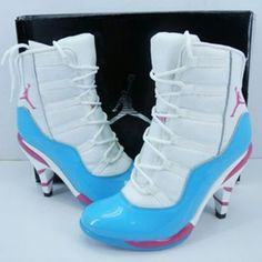 Cheap Girls Nike Air Jordan 11 High Heels White BabyBlue Female Shoes Outlet - Click Image to Close High Heel Boots, Heeled Boots, Shoe Boots, High Heels, Women's Boots, Nike Jordans Women, Air Jordans, Cheap Jordan Shoes, Air Jordan Shoes