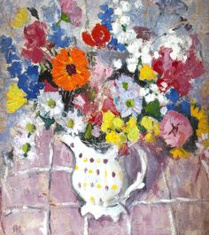 bofransson: Anne Redpath (British, 1895-1965) Mixed Flowers in a Spotted Jug