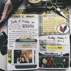 Travel journal pages and scrapbook inspiration – ideas for travel journaling, art journaling, and scrapbooking. Travel journal pages and scrapbook inspiration – ideas for travel journaling, art journaling, and scrapbooking. Album Journal, Travel Journal Pages, Scrapbook Journal, Photo Journal, Journal Layout, My Journal, Journal Ideas, Travel Journals, Memory Journal
