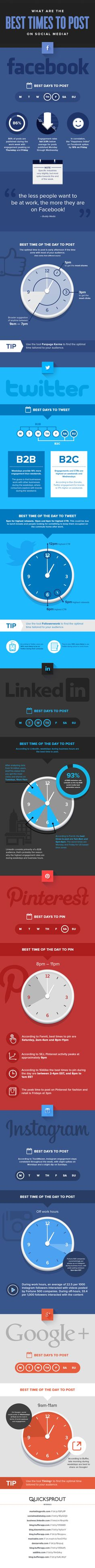 What Are the Best Times to Post on Social Media? [INFOGRAPHIC] Do you post your social media content when your audience has the highest chance of seeing it? Are you wondering, what is the best time to share your post(s) on social media to get the maximum interaction? This infographic from Quicksprout, highlights the optimal times to post to all the major social networking sites: Facebook, LinkedIn, Twitter, Google Plus, Instagram and Pinterest.