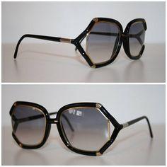 d0eb5f58d3 Vintage 70s Designer Sunglasses - TED LAPIDUS - Paris France - Oversized -  Iconic - Black and Gold - Dark Tint