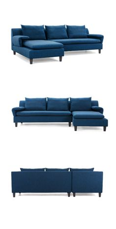 This Capri Sectional in Blue marries a casual look with functional appeal. The 3-seater chaise and sofa would work well in a variety of modern, transitional, and eclectic interiors, and its cooling blue hue makes a perfect match with bright yellow and green accents in any room.