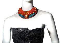 Hand Embroidered Beads short Necklace by KrishanshHandMade on Etsy