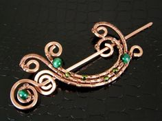 Copper Half Moon Shawl Pin or Scarf Pin Wire Weave Pin FREE SHIPPING USA