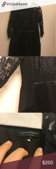 Nanette LePore Black Lace Dress Size 8 black Nanette Lepore lace dress. Beautiful detailing and lace, pockets, and see through lace sleeves. Perfect for a black tie wedding or any formal event. Originally bought at Nordstrom in Chicago. Nanette Lepore Dresses Mini