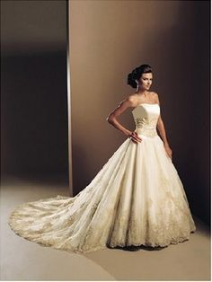 medieval fantasy wedding gowns  beautiful skirt detailing and nice antique ivory/ gold colour