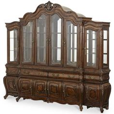 Melange Finish Wood Carved Frame China Cabinet Buffet with Side Piers