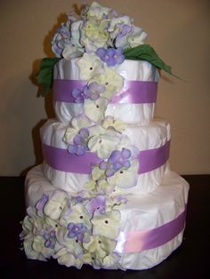 Cascading Purple Flowers Diaper Cake