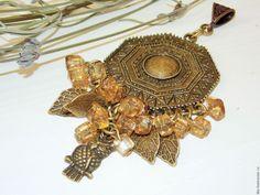 Купить Кулон с цитрином Мудрая СОВА - коричневый, бронзовый, прозрачный, кулон, этно, подвеска