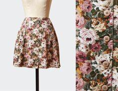 Vintage Floral Mini Skirt 90s Mini Grunge Boho A Line Pink Green White / 1990s Vintage Hippie Festival High Waisted Hipster