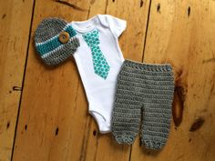 Newborn Boy Coming Home Outfit - Polka Dot Tie Shirt w/ Matching Crochet Hat and Pant - Gray, White, Aqua/Teal - Made To Order