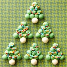 Sprinkles make a great holiday light decoration for these cute Christmas Tree cookies! More cookie recipes: http://www.bhg.com/christmas/cookies/christmas-cookies/?socsrc=bhgpin112513snowballtrees&page=7