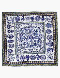 Dahlia Women's 100% Square Silk Scarf Shawl - Blue White Porcelain Vase
