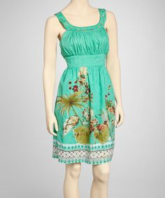 Take a look at this Green Ruched Yoke Dress on zulily today!