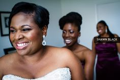 #classic #beauty - awesome image of the #bride and her #bff assisting with final touches as her twin sister looks on:)