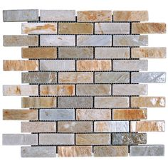 Found it at Wayfair - 1'' x 3'' Slate Mosaic Tile in Golden White