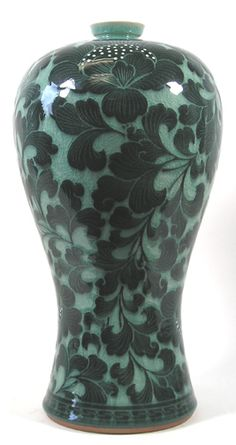 CMV - 20 Korean Celadon Mae-Byeung Vase with Dark Green Flower Pattern by Ko Chung