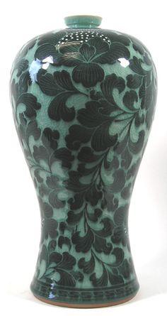 CMV - 20   Korean Celadon Mae-Byeung Vase with Dark Green Flower Pattern by Ko Chung