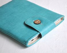"Laptop Cover, MacBook Pro 15"" Cover,  Apple Laptop Case, Turquoise Faux Leather on Etsy, $50.00"