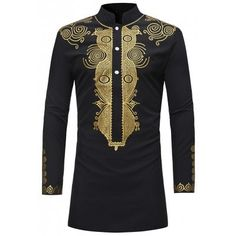 Ericdress African Fashion Dashiki Print Slim Fitted Stand Collar Mens Shirts Online store for the latest fashion & trends in women's collection. Shop affordable ladies' Dresses, Clothing, Shoes & Accessories with top quality. Dashiki For Men, African Dashiki, Dashiki Shirt Mens, African Attire, African Wear, African Male Suits, African Masks, African Outfits For Men, African Dress