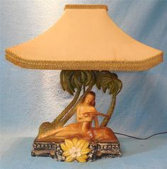Vtg Columbia Statuary Lady Gazelle Palm Tree TV Chalkware Polynesian Tiki Lamp