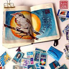 I love #postagestamps and #maps, so I made a #birdcollage with both. . . #artjournal #artjournaling #visualjournal #journaling #journaladdicted #moleskine #drawingoftheday #pictureoftheday #picoftheday #paper #planner #illustratedjournal #illustrateddiary #illustriertestagebuch #illustration #drawing #draw #sketchbook #creative #graphic #artoftheday #moleskine_arts, #日記, #イラスト #collage #bird #stamp