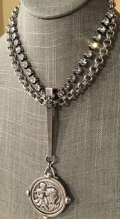 Feminine with an EDGE. Holiday 2016 collection. http://www.frenchkande.com/swarovski-and-double-cable-chain-with-long-bail-and-pasquier-medallion.html