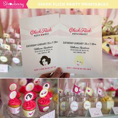 """Chick Flick Party Printables ---we could go to """"Chic-fil-a"""", then do chick flics all night Chick Flick Movies, Best Chick Flicks, Super Fun Night, Party Themes, Theme Parties, Party Ideas, Gift Ideas, Movie Night Party, Heart Party"""