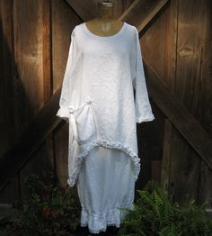 tunic washed linen in white with ruffles by linenclothing on Etsy. , via Etsy.