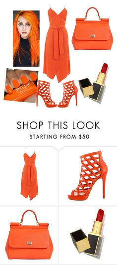 """Orange fever"" by reesem76935 ❤ liked on Polyvore featuring Warehouse, Nicole Miller, Dolce&Gabbana and Tom Ford"