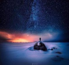 The Wanderer - Composite image of 3 exposures. Photo by Lauri Lohi Star Photography, Landscape Photography, Nature Photography, Night Photography, Travel Photography, Destinations, Great Pic, Illustrations, Night Skies