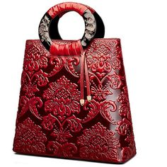 Fengyaqiandai Vintage Style 6013 Designer Ladies Leather Satchel Long... ($194) ❤ liked on Polyvore featuring bags, handbags, leather man bags, leather handbags, red satchel handbag, red leather handbags and hand bags