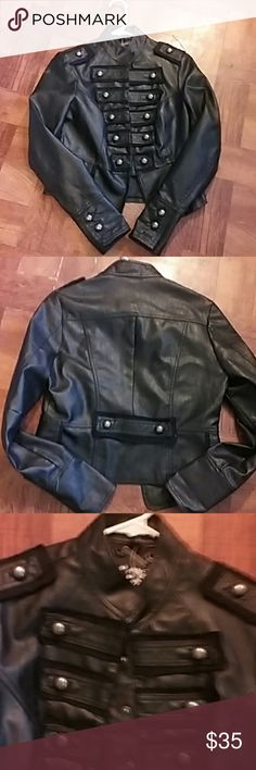 Very nice military leather jacket Black reposhed military jacket,soo hate to give this one up,it's to small for me!!size is like small/medium.make a offer!! juju Jackets & Coats Utility Jackets