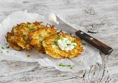 A hearty breakfast or fantastic side dish, these potato pancakes are a traditional dish that keep it simple and delicious. Serving with applesauce and sour cream makes them the perfect combination of flavors! Potato Latkes, Potato Pancakes, Pita Sandwiches, Brunch, Camping Meals, Camping Recipes, Tandoori Chicken, A Food, Side Dishes