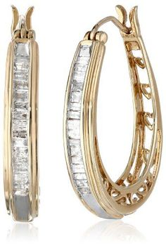 10K Yellow Gold Diamond Hoop Earrings 12 cttw *** Check out the image by visiting the link. (This is an affiliate link) #DiamondJewelry