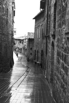 Black and white San Gimignano, Tuscany