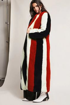 Product Name:Multistripe Faux Fur Coat, Category:CLEARANCE_ZERO, Price:148