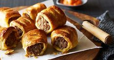 Sausage rolls recipe - For smoked capsicum sauce, preheat oven to Place almonds in a heatproof bowl, cover with boiling water and stand for 10 minutes to soften, then drain. Quiches, Cheers, Homemade Sausage Rolls, Ma Baker, Mini Hamburgers, Avocado Dip, Australia Day, Recipe Search, Salads