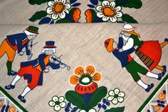 Scandinavian retro folklore table cloth from Sweden